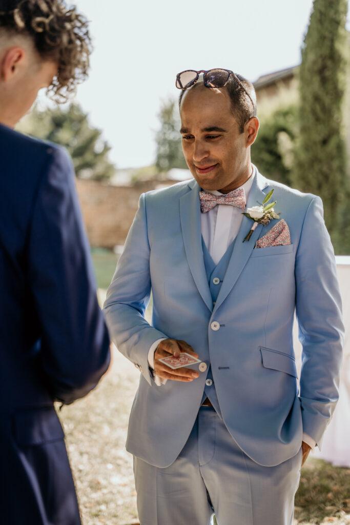 wedding planner rhone d day organisation mariage costume bleu ciel
