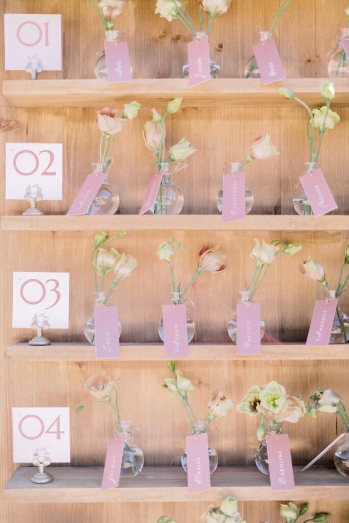plan de table mariage rose et fleurs organisation mariage rennes