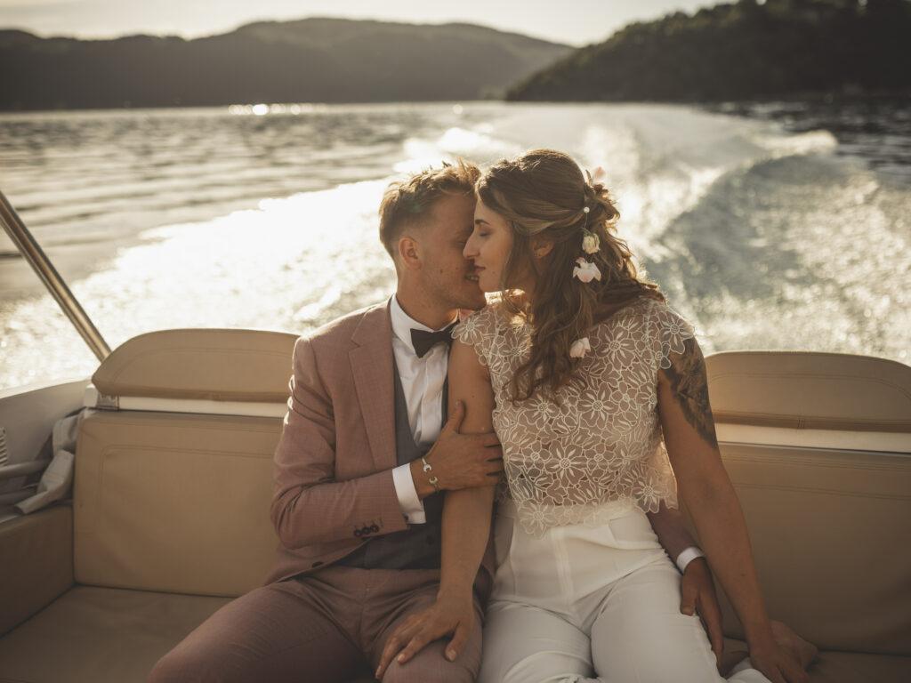 bateau mariage sur l'eau mariage lac de genève mariage love mariée